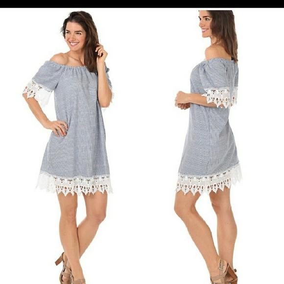 6d37fe3446 Mlle Gabrielle Off Shoulder Lace Hem Dress 2X. M 5c61e50b2beb7925a2810b2c